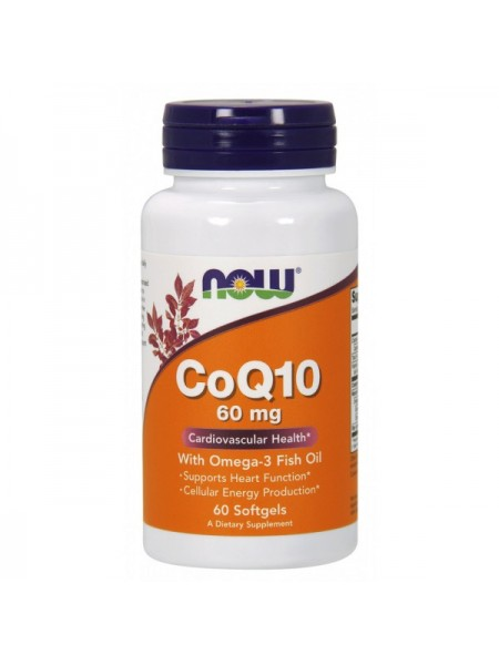 Now Foods CoQ10 60 mg With Omega 3 Fish Oils Softgels (240 капс.)